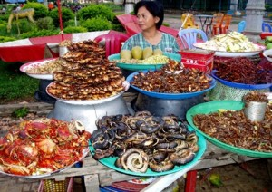 Stir-fried insects are all sold by vendors