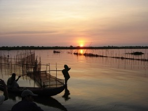 Sunset on the Tonle Sap great lake