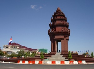The monument sits in the centre of the city of Phnom Penh