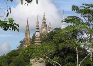 Ancient stupas from distance