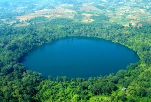 Aerial view of Yak Loum Lake in Ratanakiri province