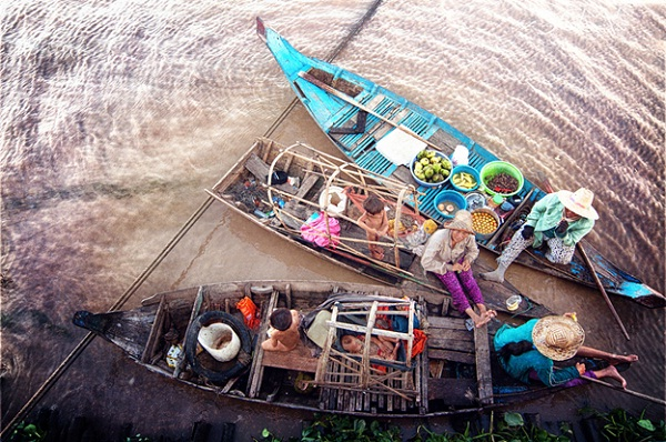 Local people living and working on boats
