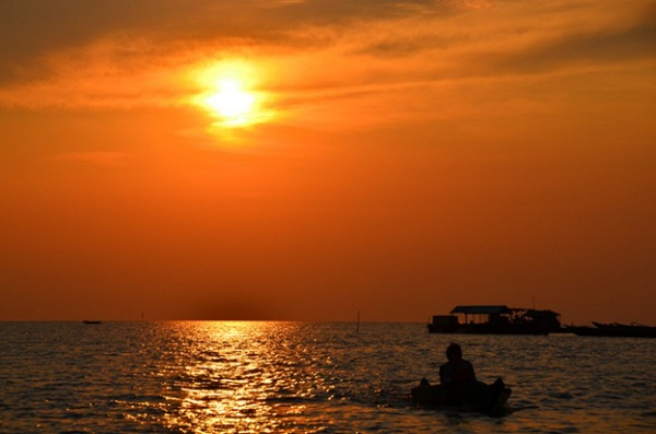 Tonle Sap at sunset