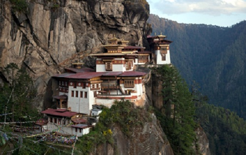 Buddhist monastery, view from the top of the mountain