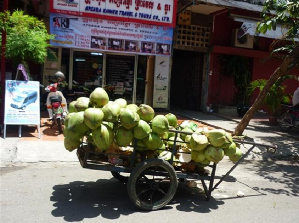 Coconut milk is a popular street drink in Cambodia