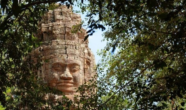 A massive facial stone at Bayon Temple