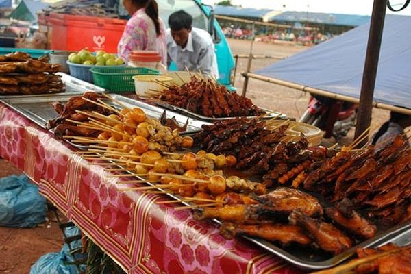 A wide variety of street food in Siem Reap