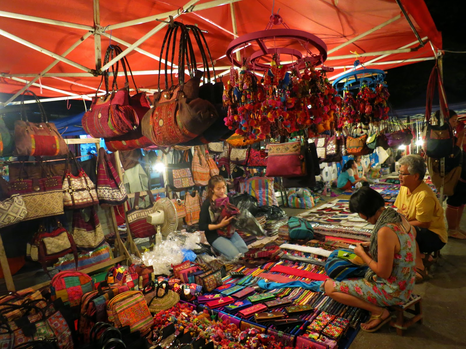 Colorful bags and pockets are being sold in Angkor Night