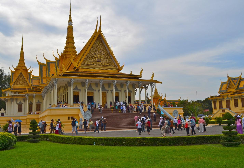 Visitors gathering at Royal Palace in dry season from November to May