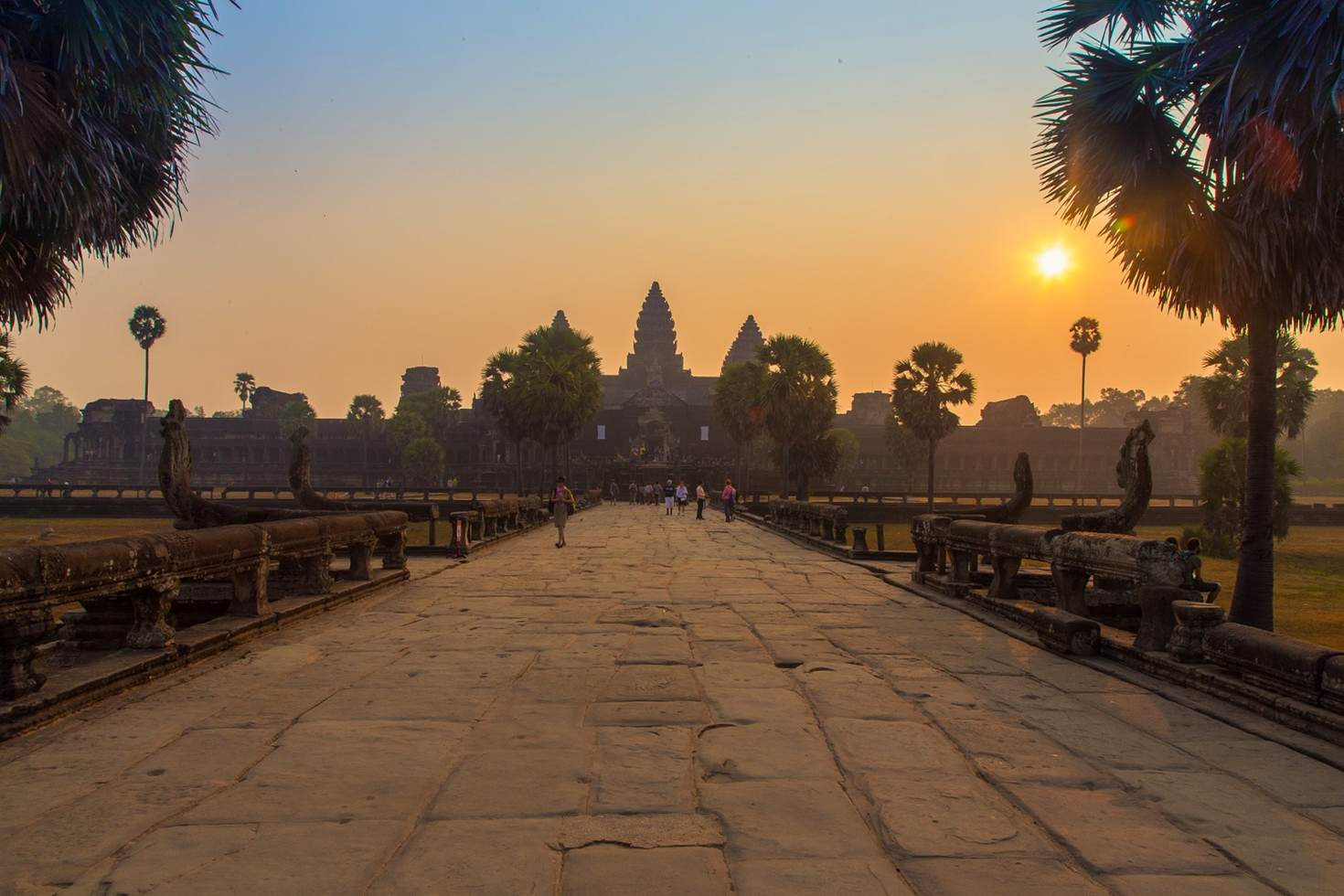 Entrance to Angkor Wat at sunrise-