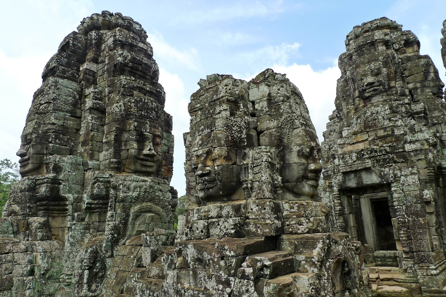 The faces with many different moods in Bayon temple