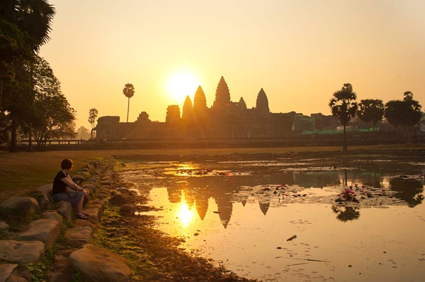 Sunrise at the Angkor is an amazing experience