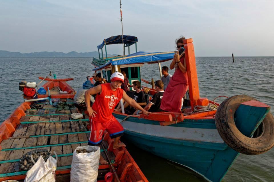 Boat between Kampot and Kep