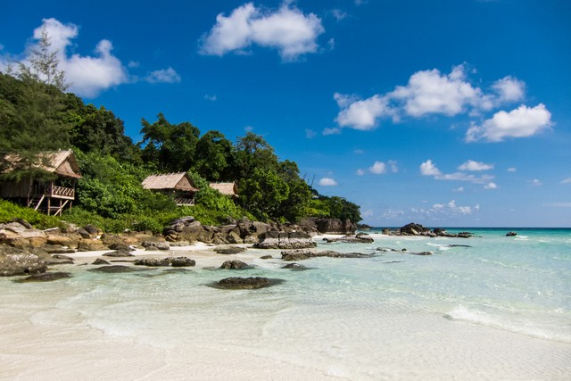 A beautiful scene in a famous Cambodia's beach at summertime