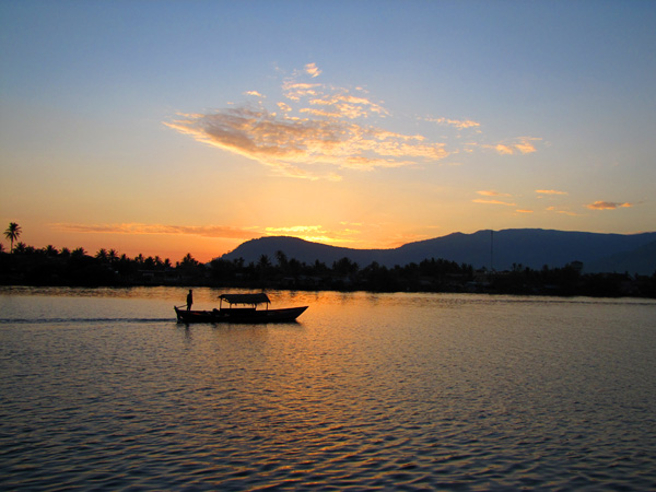 Magnificent sunset in Kampot