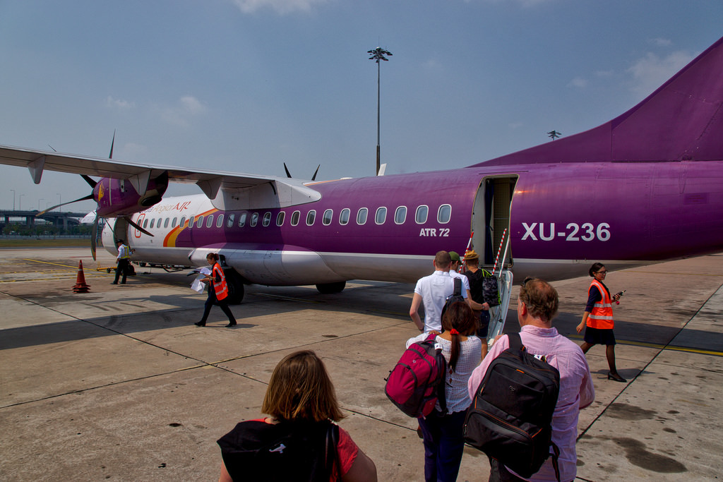 Traveling by plane is the fastest way to go from Bangkok to Siem Reap