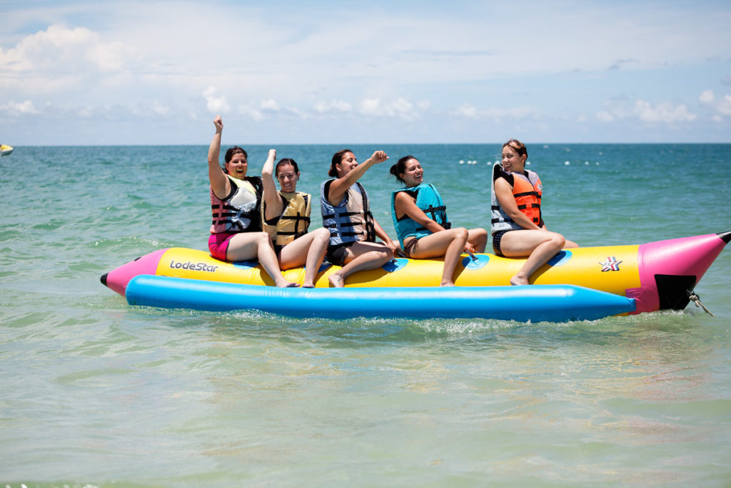 Banana boat riding is very popular, often selected by groups as a collective game