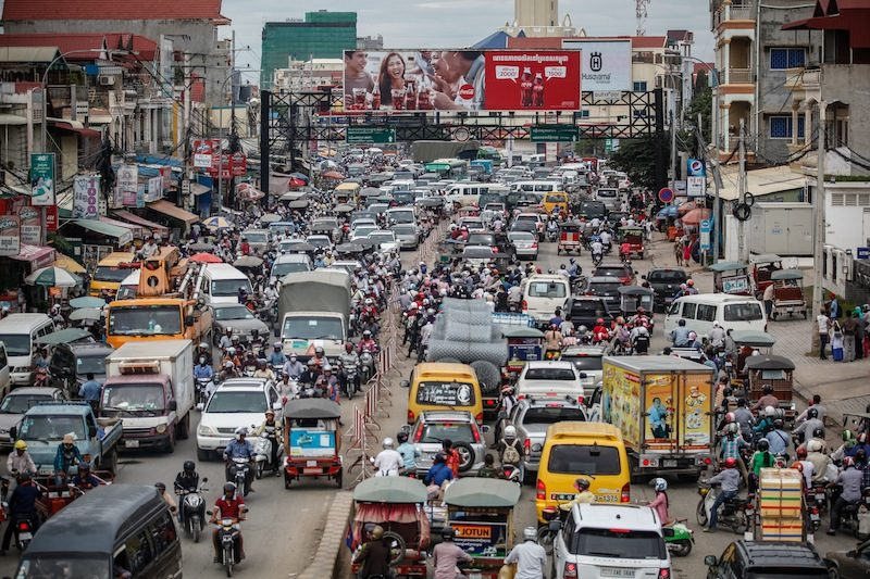 Overcrowded street in Cambodia