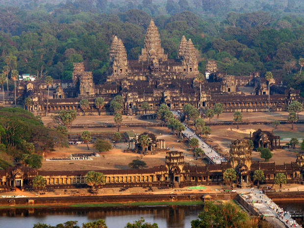 Ancient Angkor Wat view from above