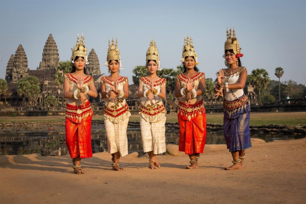 Women wear traditional clothes in Cambodia