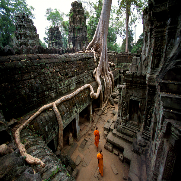A beautiful corner at Angkor Wat temple in Cambodia