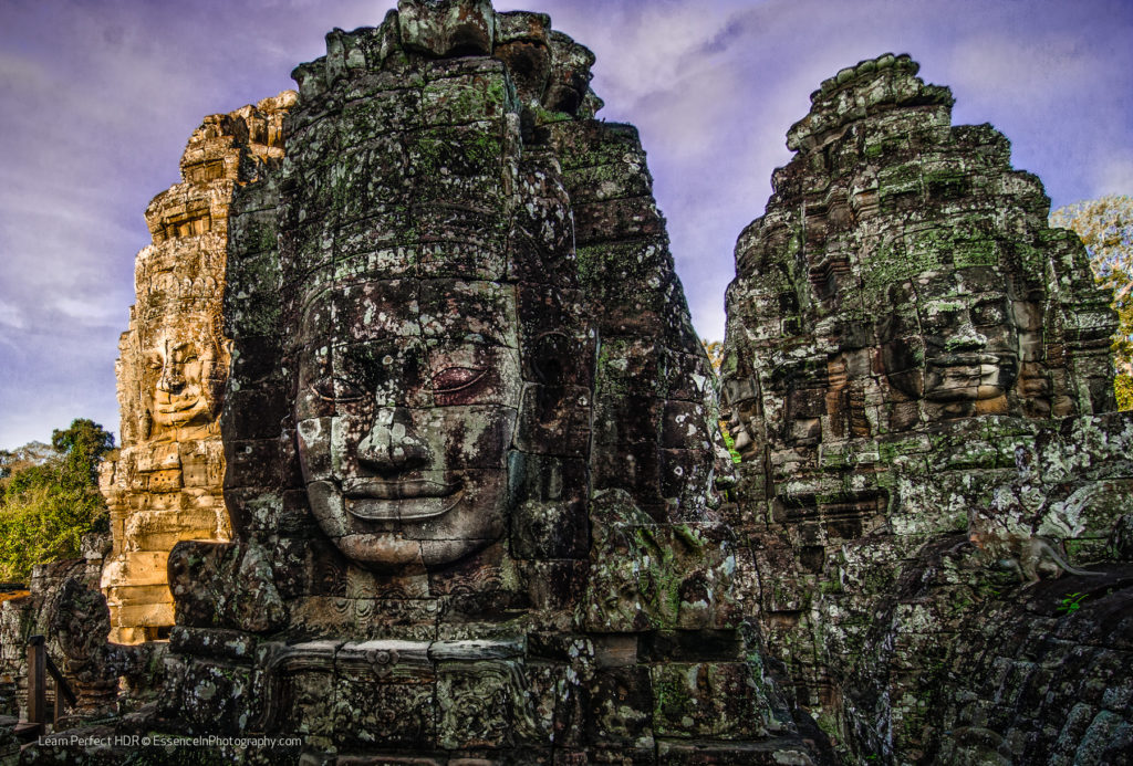 Buddha Face Carvings in Stone at Bayon Temple in Angkor Thom