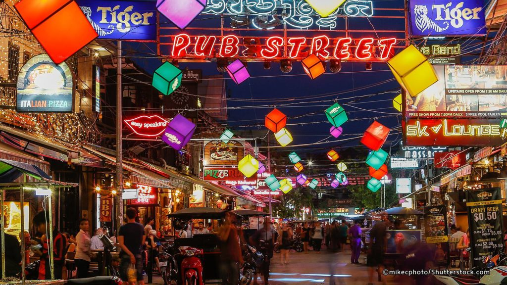 Pub Street is the familiar location for visitors at Seam Reap